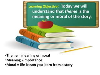 Learning Objective :   Today we will understand that  theme  is the meaning or moral of the story.