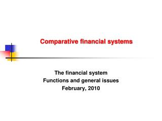 Comparative financial systems