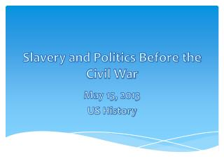Slavery and Politics Before the Civil War