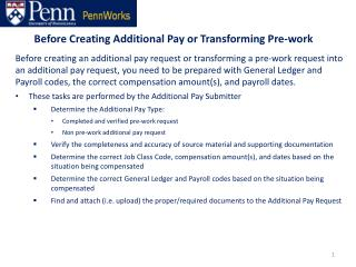 Before Creating Additional Pay or Transforming Pre-work