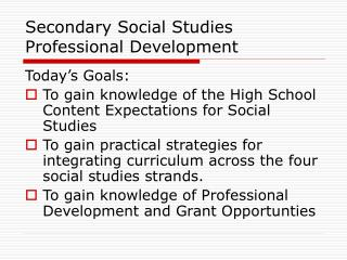 Secondary Social Studies Professional Development