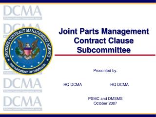 Joint Parts Management Contract Clause Subcommittee