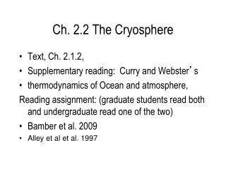 Ch. 2.2 The Cryosphere