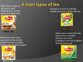 4 main types of tea