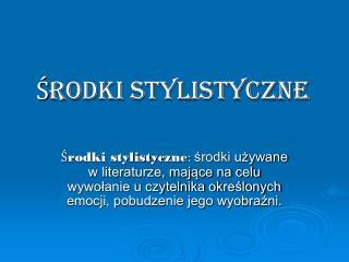Środki stylistyczne