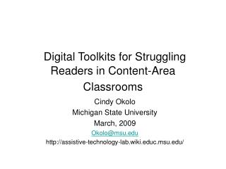 Digital Toolkits for Struggling Readers in Content-Area Classrooms