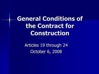 General Conditions of the Contract for Construction
