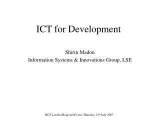 ICT for Development