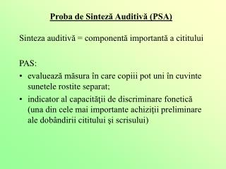 Proba de Sinteză Auditivă (PSA)