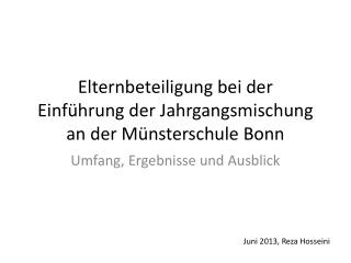 Elternbeteiligung bei der Einführung der Jahrgangsmischung an der Münsterschule Bonn