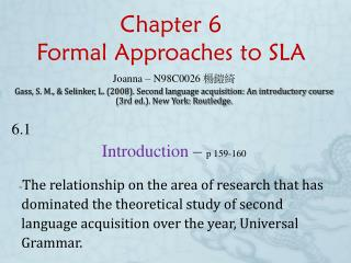 Chapter 6 Formal Approaches to SLA