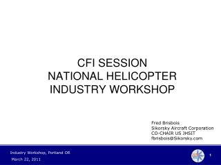 CFI SESSION NATIONAL HELICOPTER INDUSTRY WORKSHOP