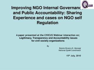 Improving NGO Internal Governance and Public Accountability: Sharing Experience and cases on NGO self Regulation