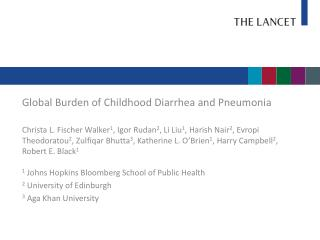 Global Burden of Childhood Diarrhea and Pneumonia