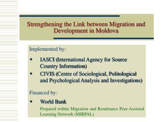 Strengthening the Link between Migration and Development in Moldova