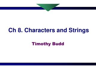 Ch 8. Characters and Strings