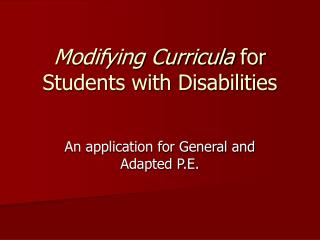 Modifying Curricula  for Students with Disabilities