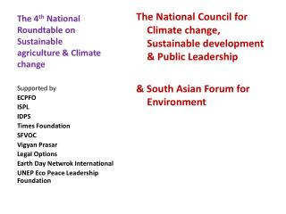 The 4 th  National Roundtable on Sustainable agriculture & Climate change