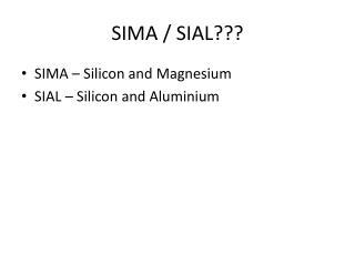 SIMA / SIAL???