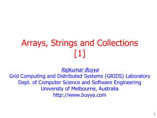 Arrays, Strings and Collections [1]