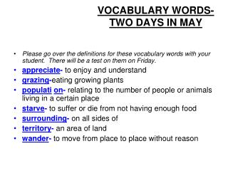 VOCABULARY WORDS- TWO DAYS IN MAY