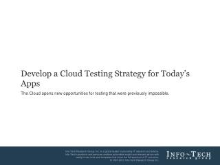 Develop a Cloud Testing Strategy for Today's Apps