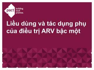 Liều dùng và tác dụng phụ của điều trị ARV bậc một