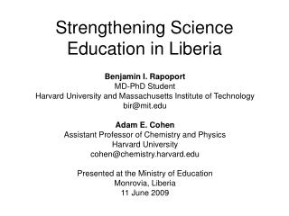 Strengthening Science Education in Liberia