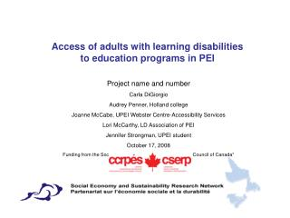 Access of adults with learning disabilities to education programs in PEI