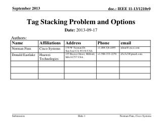 Tag  Stacking  Problem  and Options