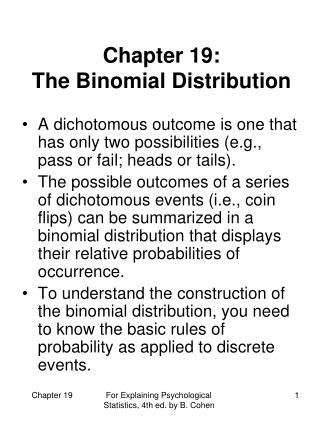Chapter 19:  The Binomial Distribution