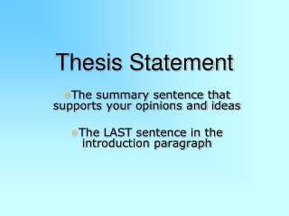 Finding a Thesis Statement