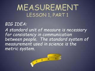 Measurement Lesson 1, Part 1