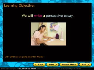 We will  write a  persuasive essay.