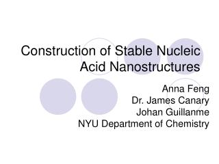 Construction of Stable Nucleic Acid Nanostructures
