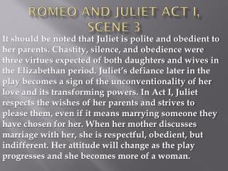 Romeo and Juliet Act I, scene 3