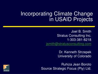 Incorporating Climate Change  in USAID Projects