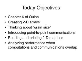 Today Objectives