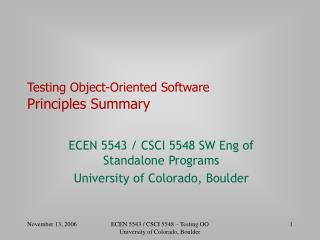 Testing Object-Oriented Software Principles Summary