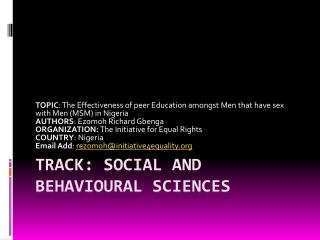 TRACK: SOCIAL AND BEHAVIOURAL SCIENCES