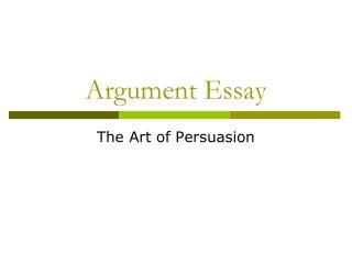Organizing an Argument Essay