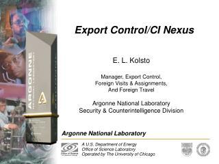 Export Control/CI Nexus