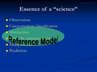 Essence of a  science