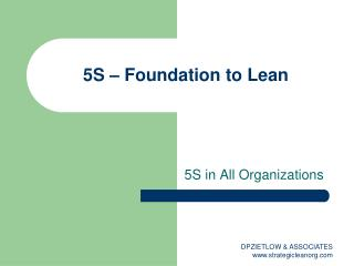 5S – Foundation to Lean
