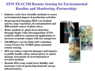 FEW FEAC320 Remote Sensing for Environmental Baseline and Monitoring (Partnership)