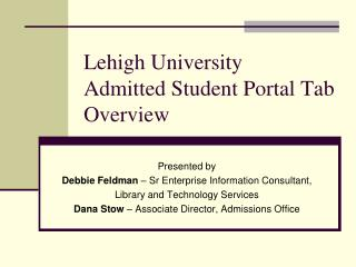 Lehigh University Admitted Student Portal Tab Overview