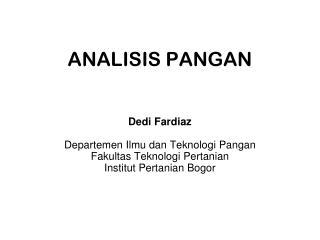 ANALISIS PANGAN