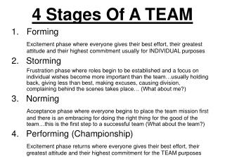 4 Stages Of A TEAM