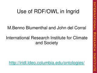 Use of RDF/OWL in Ingrid