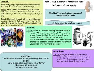 Year 7 PDE Extended Homework Task Influence of the Media